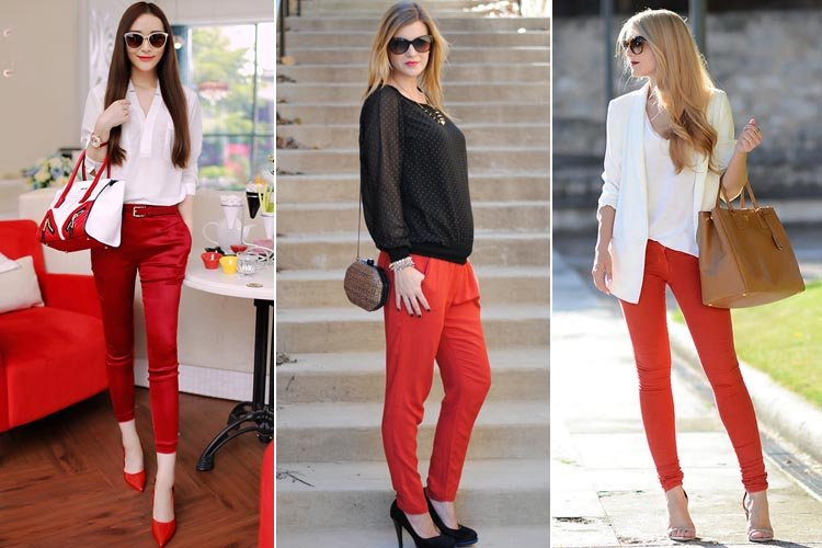 A black top is an easy match for bold pants, but a statement piece, like animal print pumps, is a must to bring it all together. Polka dot top Pretty red pants brighten up .