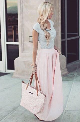 Baby pink long skirt