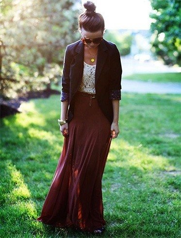 Blazer and Maxi Dress