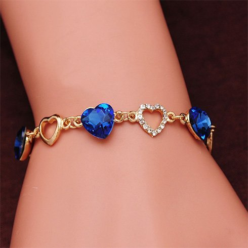 Blue hearted bracelet