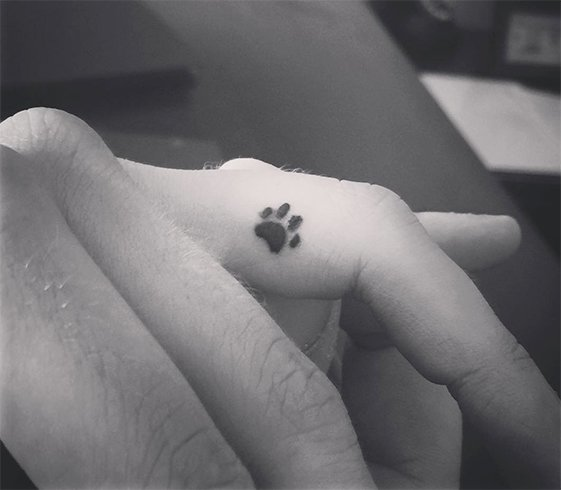 Small Paw Tattoo on Finger