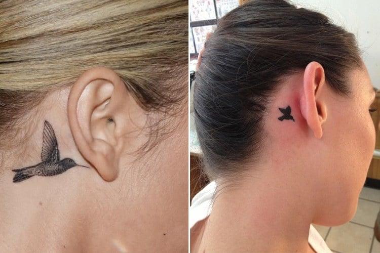 Small Hummingbird Tattoo Behind the Ear