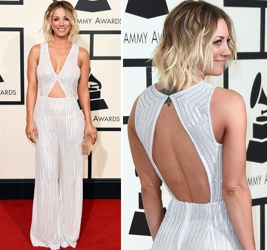 Kaley Cuoco in Naeem Khan sparkly jumpsuit