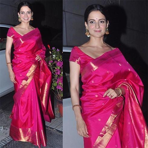 Kangana Ranaut In pink Kanjeevaram saree