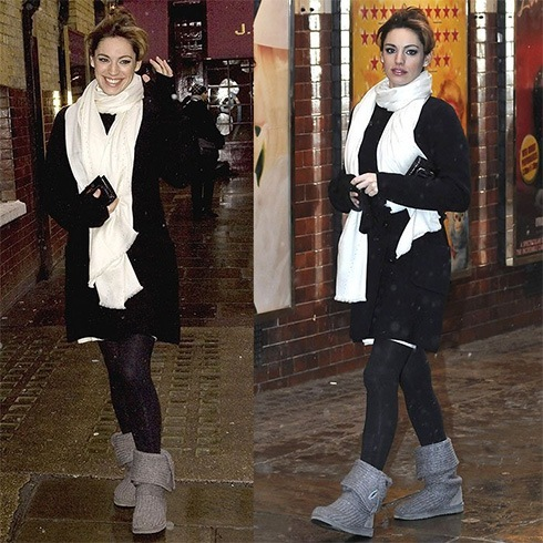 Kelly Brook uggs with leggings