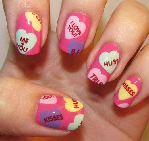 kiss nail art art designs