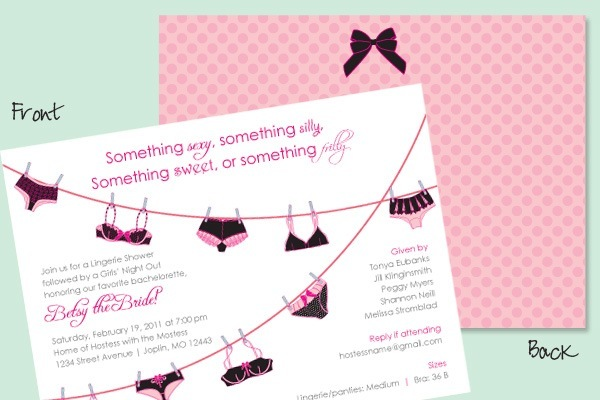 Lingerie shower invite