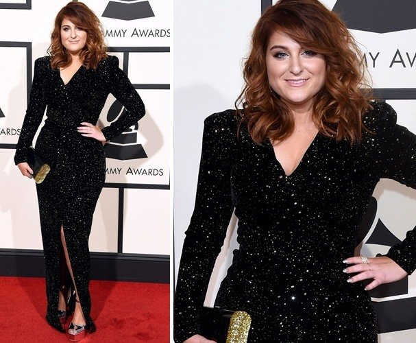 Meghan Trainor in Michael Costello black gown