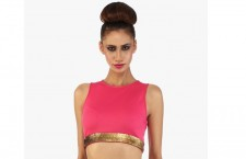 Pink Embellished Crop Top