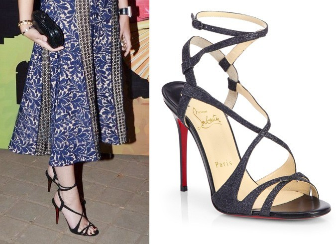 Michelle wore strappy black Louboutin
