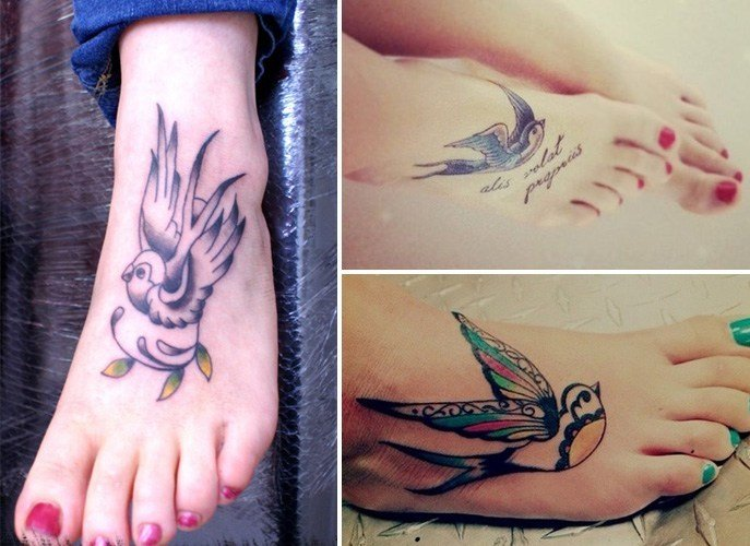 Traditional Swallow Tattoo on Foot