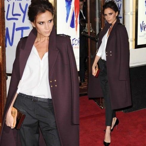 Victoria Beckham wore a plum coat