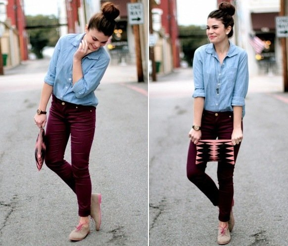 ways to wear maroon pants outfits