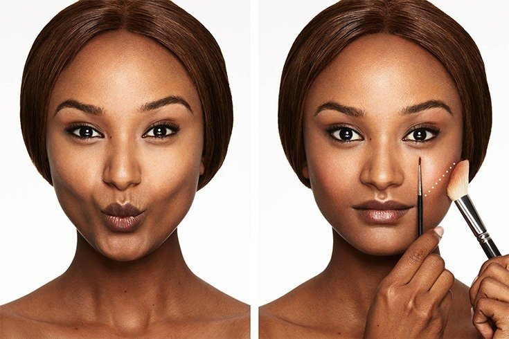For the sake of this post, I'm including rectangle faces in with long faces, since the blush application tips are very similar. If you have a long face, chances are you want your makeup to create an illusion of width.