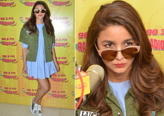 Alia Bhatt In Khakhi Green jacket and makeup