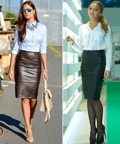 Formal Leather Skirt Outfits