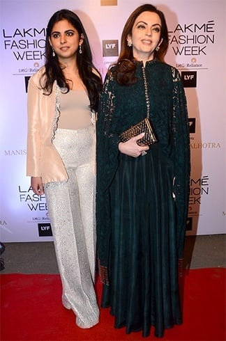 Isha and Neeta Ambani at Lakme Fashion Week 2016