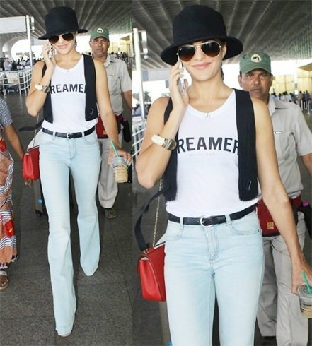 Jacqueline Fernandez in Spiritual Gangster at Mumbai Airport