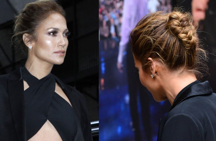 Jennifer Lopez Chignon Braided Updo