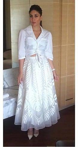 Kareena Kapoor White Dress At Ki and Ka promotions