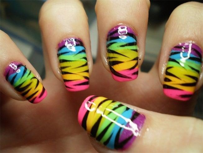 Multi-Colored Zebra Nail Ideas