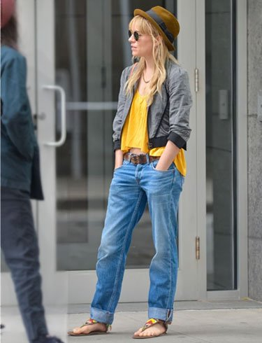 Pop Of Color With Boyfriend Jeans