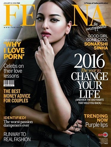 Sonakshi Sinha Femina January 2016 Magazine Cover