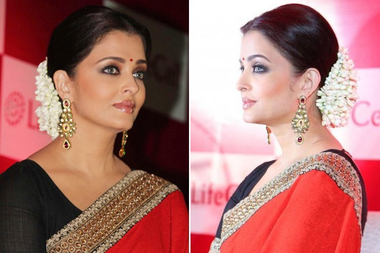 Aishwarya Rai high bun hairstyle