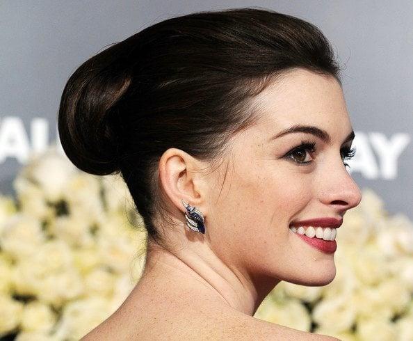 Anne Hathaway Dark Retro Updo Hairstyles
