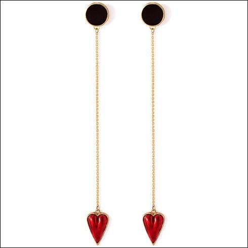 Black Enamel Earrings With Dangling Red Heart