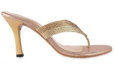 Gold Embellished Leatherette Stilettos