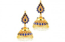 Gold Jhumkas With Blue Stones