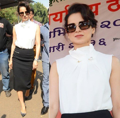 Kangana Ranaut in Madison and Victoria Beckham Skirt