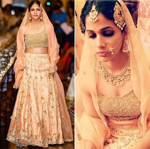 Lavanya Tripathi in peach lehenga