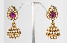 Leaf Pearl Jhumki Earrings