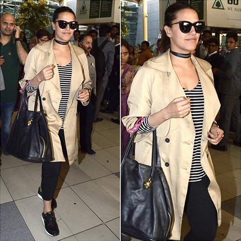 Neha Dhupia airport fashion