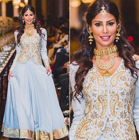 Nicole Faria in light blue lehenga