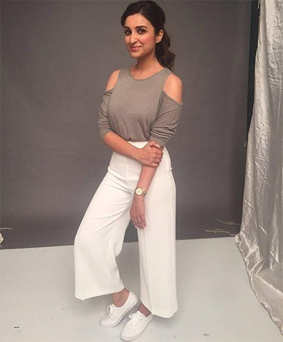 Parineeti Chopra in ash top and white culottes