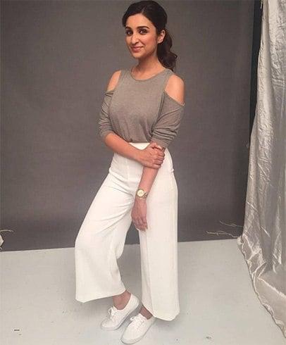 Parineeti Chopra in ash top and white culottes