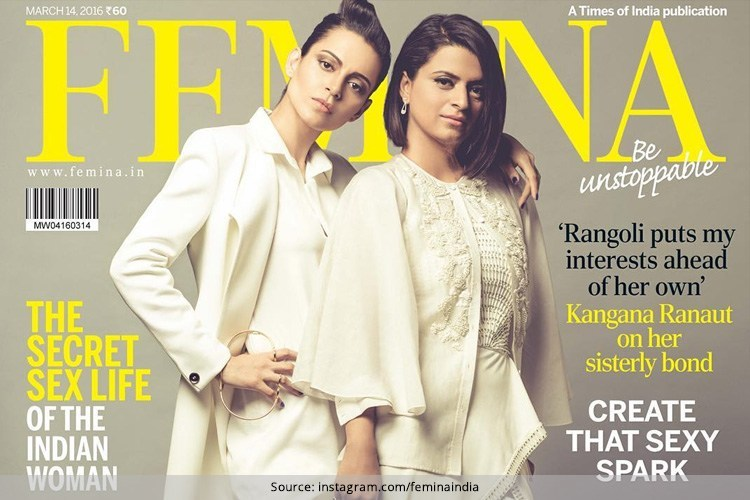 Kangana Ranaut and Rangoli Chandeli on Femina cover March 2016