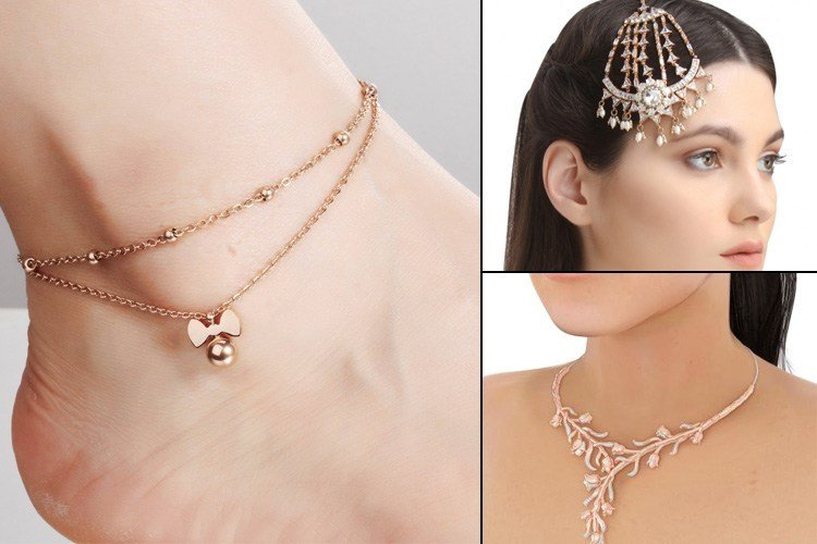 Rose gold necklace and anklets
