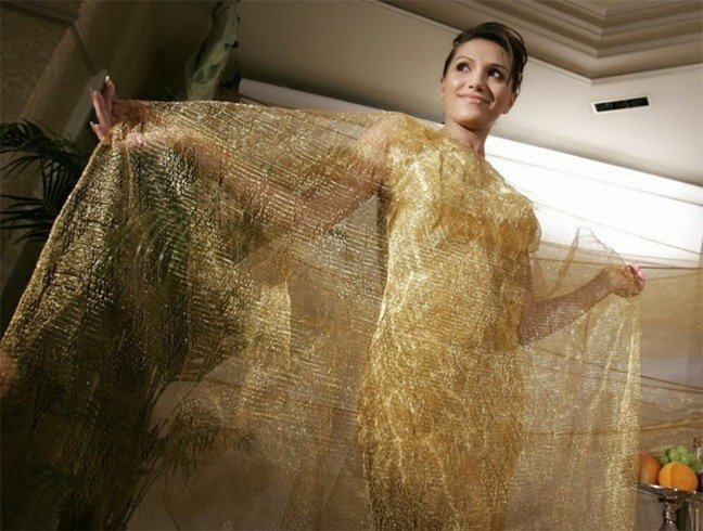 See through gold wire dress
