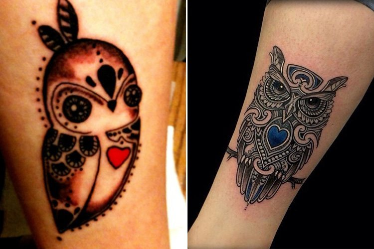 Two Toned Owl Tattoos