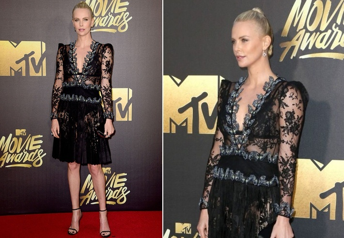 Charlize Theron in Alexander McQueen At Mtv awards