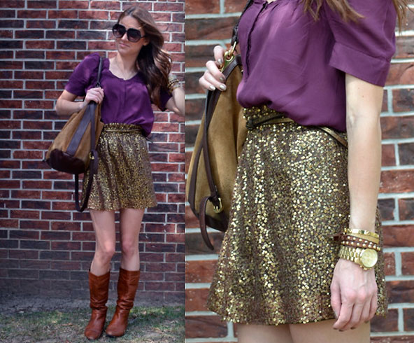 Combination Of Sequin Skirt With Boots