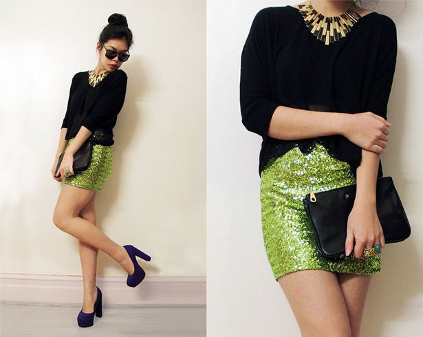 Green Sequin Skirt With A Black Chiffon Top
