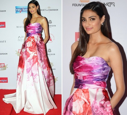 Athiya Shetty in Monique Lhuillier gown