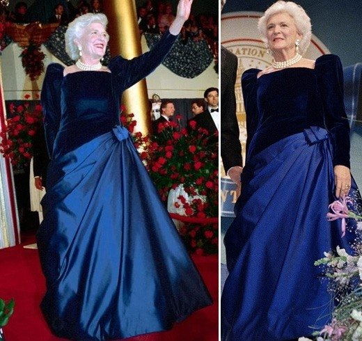 Barbara Bush sapphire velvet and satin gown