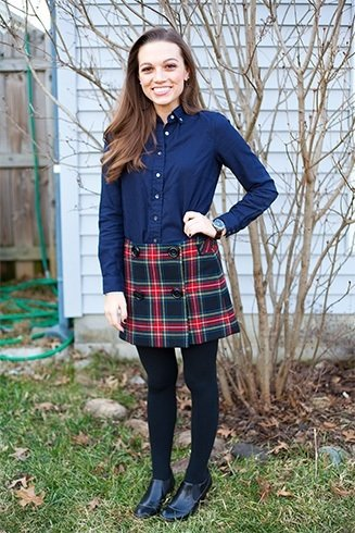Button down shirt and plaid skirt