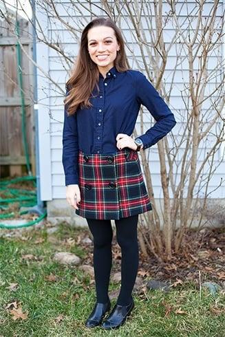 Button down shirt and plaid skirt